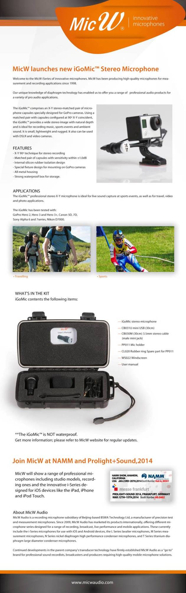MicW launch to iGoMic specially designed for GoPro Cameras